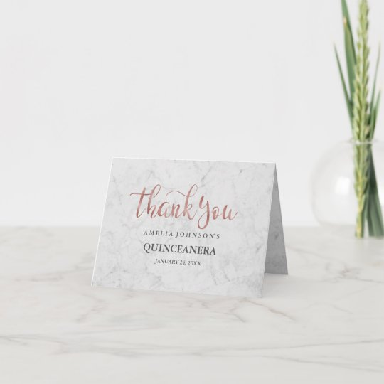 Marble Faux Rose Gold Quinceanera Thank You Card Zazzle Com