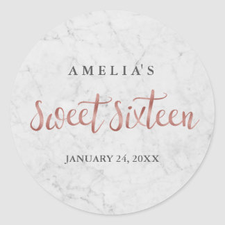 Marble Faux Rose Gold Sweet Sixteen Sticker