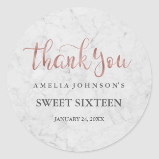 Marble Faux Rose Gold Thank You Sweet Sixteen Classic Round Sticker