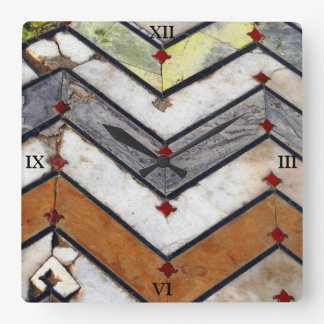 Marble Floor Square Wall Clock