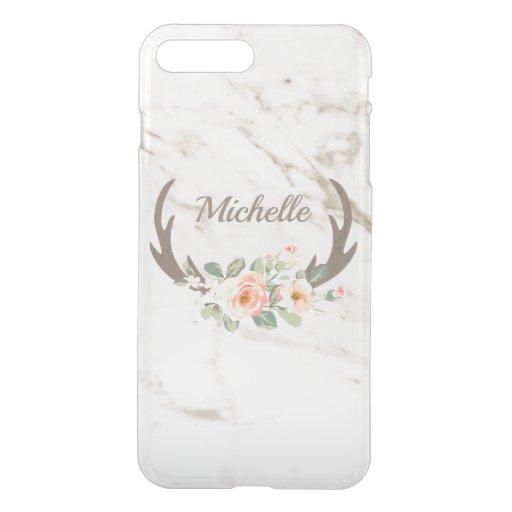 Marble Flowers And Antlers iPhone 8 Plus/7 Plus Case