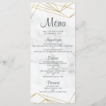 Marble Geometric Elegant Wedding Menu Card