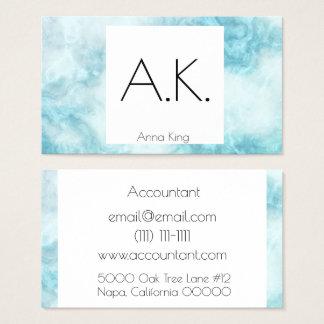 Marble geometric modern blue business card design
