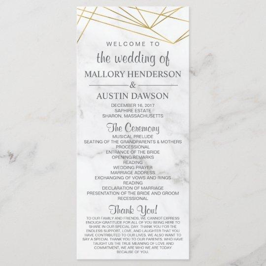 marble geometric modern wedding program front back zazzle com