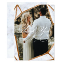 Marble Geometric Photo  Wedding Thank You Card