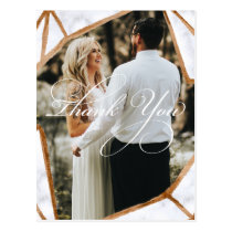 Marble Geometric Photo  Wedding Thank You Card