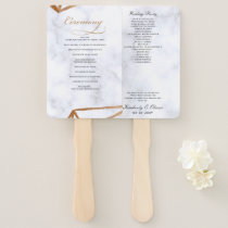 Marble Geometric Wedding Programs Hand Fan