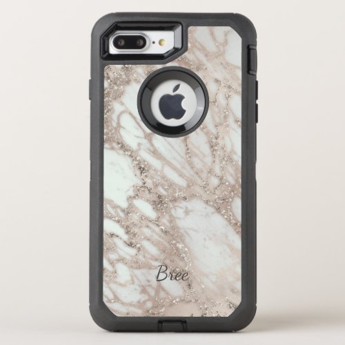 Marble Glam Rose Pink Gold Silver Designer Style Phone Case