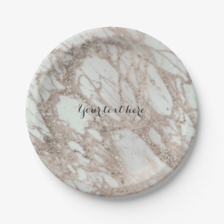 Marble Glam Rose Pink Gold Silver Designer Style Paper Plate