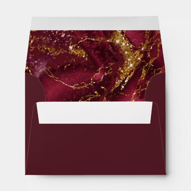 Marble Glitter Wedding Burgundy Gold ID644 Envelope
