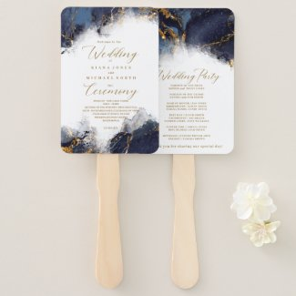 Personalized Wedding Hand Fans, Navy Blue Marble Glitter Gold