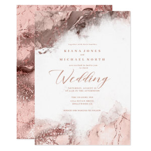 Marble and Rose Gold Wedding Invitations Glitter