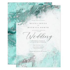 Marble Turquoise Wedding Invitations