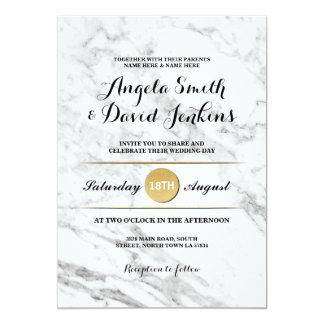 Marble Gold Elegant Wedding Art Deco 1920's Invite