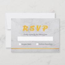 Marble & Gold Photo Birthday Invitation RSVP Card
