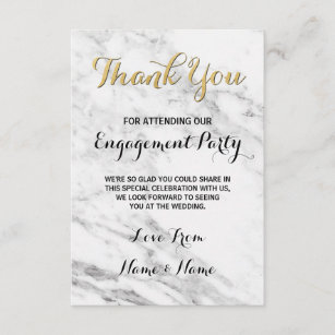 marble gold thank you card engagement deco wedding - Engagement Thank You Cards
