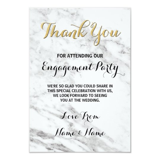 marble gold thank you card engagement deco wedding zazzle com