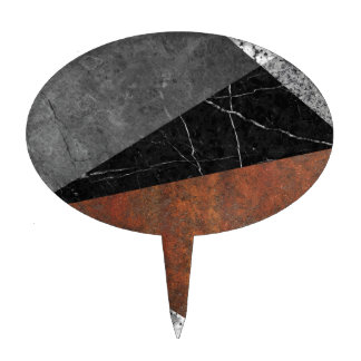 Marble, Granite, Rusted Iron Abstract Cake Topper