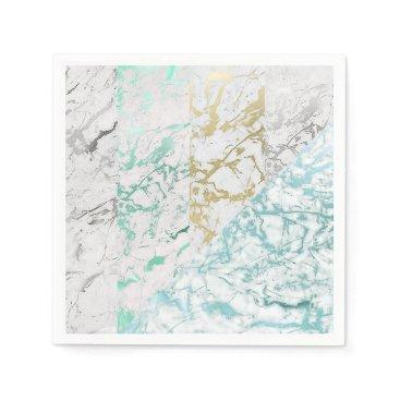 McTiffany Tiffany Aqua Marble Gray Silver Silver Gold Mint Tiffany Geomet Napkin