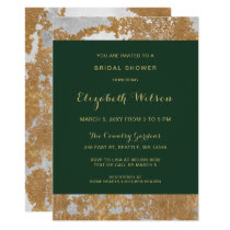 Marble Green and Gold Bridal Shower Card