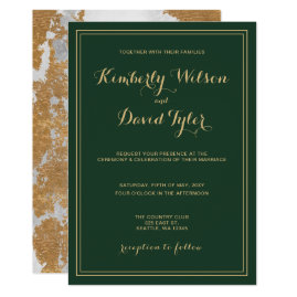 Marble Green and Gold Wedding Card