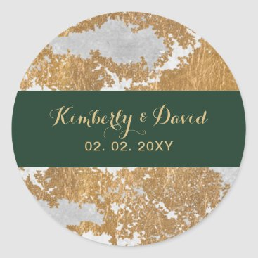 Marble Green and Gold Wedding Classic Round Sticker