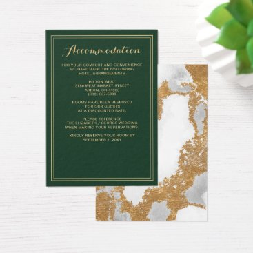Marble Green and Gold Wedding details card