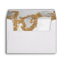 Marble Green and Gold Wedding Envelope