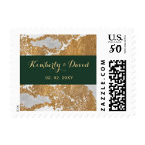 Marble Green and Gold Wedding postage