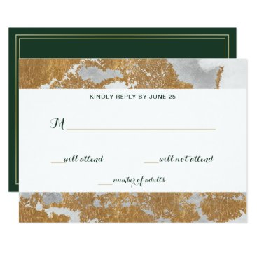 Marble Green and Gold  Wedding rsvp Card