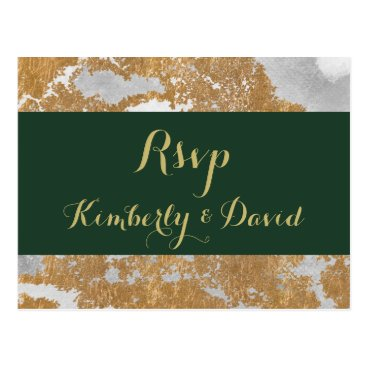 Marble Green and Gold  Wedding rsvp Postcard