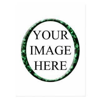 Marble Green Circle Frame Template. Postcard