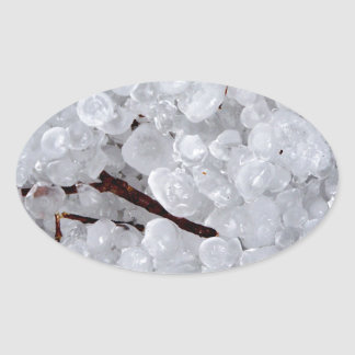 Marble Hail and Debris Oval Stickers
