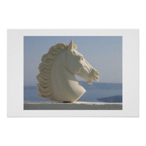 Marble horse head posters