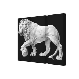 Marble Lion Wrapped Canvas Canvas Print