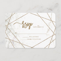 Marble Look and Copper Geometric Wedding RSVP