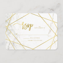 Marble Look and Faux Gold Geometric Wedding RSVP
