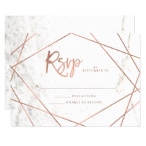 Marble Look and Faux Rose Gold Geometric RSVP