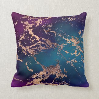 Marble Luxe Decor | Dark Purple and Teal with Gold Throw Pillow