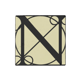 Marble Magnet Initial N Typography Stone Magnet
