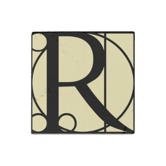 Marble Magnet Initial R Typography