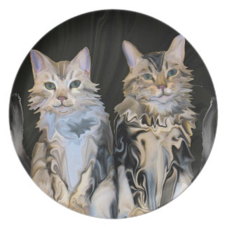 Marble Meow Cats Dinner Plate