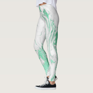 Marble Minimal Abstract Mint Green White Leggings