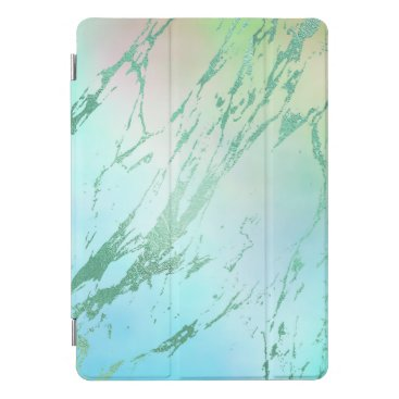 Beach Themed Marble Mint Geen Strokes Stone Gold Abstract iPad Pro Cover