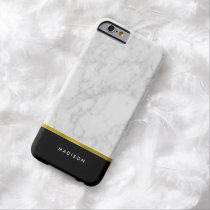Marble Pattern and Faux Gold Foil Barely There iPhone 6 Case