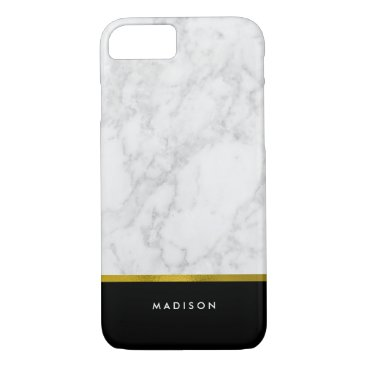 heartlocked Marble Pattern and Faux Gold Foil iPhone 7 Case