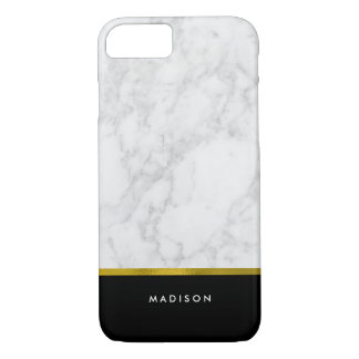 Marble Pattern and Faux Gold Foil iPhone 8/7 Case