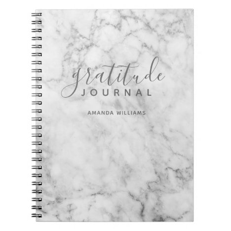 Marble Pattern Gratitude Journal - gray and white