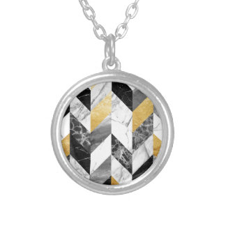 Marble pattern silver plated necklace