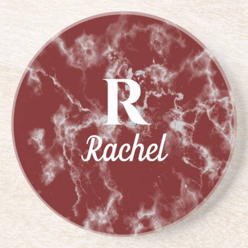 Marble Patterns Burgundy Red Monogram Initial Name Coaster